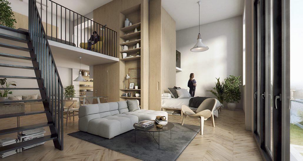 De entresolverdieping biedt ruimte voor bijvoorbeeld een werk- of slaapplek. Vanaf het entresol beleef je de ruimtelijkheid van het appartement met verdiepingshoge ramen.