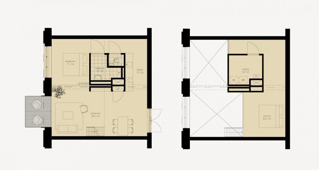 Een schoollokaal, prachtig gerenoveerd tot een unieke woning met een plafondhoogte van 4,3 meter met een ruime vide. In het midden van de woning komt een kern met een badkamer, toilet en bergruimte die los staat van de bestaande structuur van het klaslokaal. De entresolverdieping biedt ruimte voor bijvoorbeeld een werk- of slaapplek. Woonoppervlaktes variërend van ca. 97 tot 153 m2.