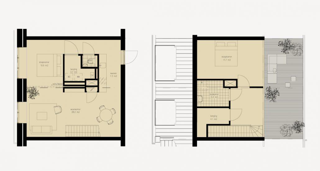 De nokwoning bestaat uit een maisonnette, met op de eerste woonlaag een ruime woonkamer met keuken, een berging en een toilet. De woonruimte kan door een scheidingswand opgedeeld worden om plek te bieden voor een werk- of slaapplek. De tweede woonlaag bestaat uit een slaapkamer, badkamer, berging en een ruim en beschut dakterras op het bestaande dak. Woonoppervlaktes variërend van ca. 93 tot 155 m2.