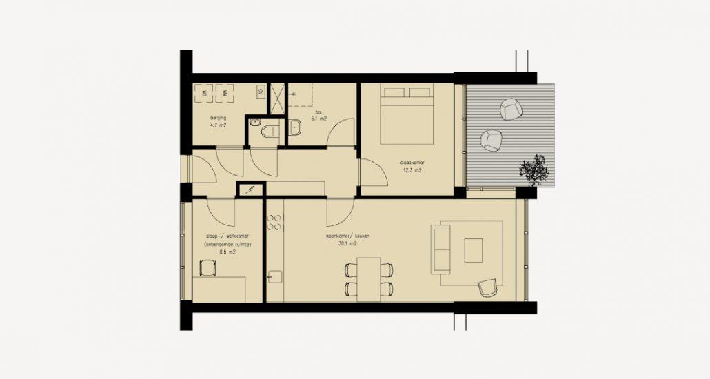 De nieuwbouwwoning betreft een 3-kamerappartement. Een ruime woonkamer met keuken, een slaapkamer en een extra ruimte die gebruikt kan worden als een werk- of slaapkamer. De badkamer en het toilet zijn van elkaar gescheiden. In de berging is voldoende ruimte voor een wasmachine en wasdroger. De woon- en de slaapkamer bieden toegang tot een terras aan het besloten binnenhof of een riant balkon.Woonoppervlaktes variërend van ca. 54 tot 74 m2.